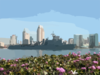 The Amphibious Dock Landing Ship Uss Germantown (lsd 42) Sails Past Downtown San Diego, Calif. On Its Way To Loved Ones Waiting Pier Side At Naval Base San Diego. Clip Art