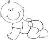 Crawling Baby Boy Outline 2 Clip Art