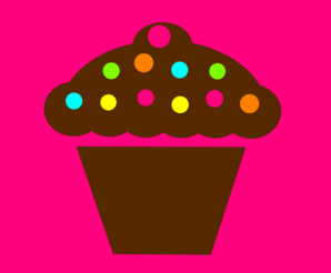 Polka Dot Cupcake With Pink Background Clip Art
