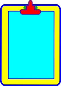 Blue, Yellow, Red Clipboard Clip Art