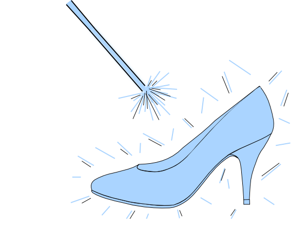 Blue Slipper With Wand Clip Art
