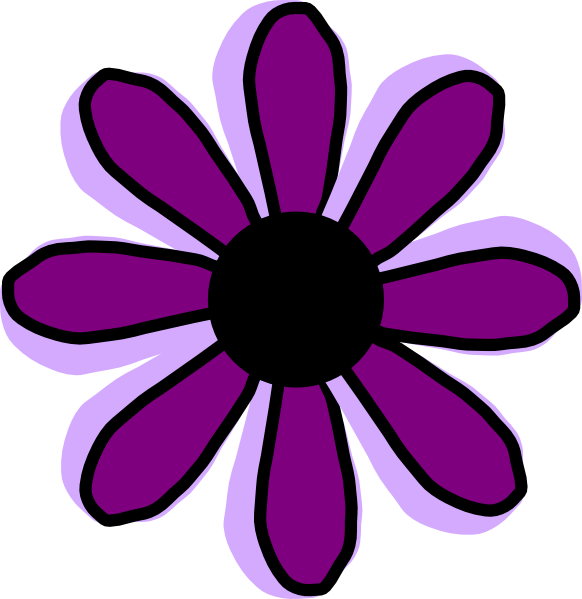 Purple Cartoon Flower Clipart