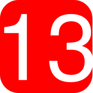 Red, Rounded, Square With Number 13 Clip Art
