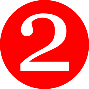 Red, Rounded,with Number 2 Clip Art