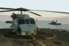 An Sh-60  Sea Hawk  Helicopter Rests On The Fantail Of The Mobile Bay Clip Art