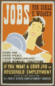 Jobs For Girls & Women If You Want A Good Job In Household Employment Apply At - Or Write To Illinois State Employment Service. Clip Art
