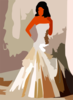 Corset Wedding Dress Vector Colour Contrast Enhance Revector Clip Art