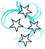 Teal And White Tattoo With Stars Clip Art
