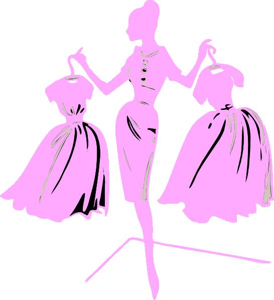 Fashion Model Pink Dress Clip Art at Clker.com - vector ...