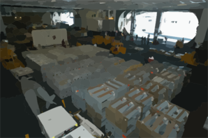The Hangar Bay Aboard The Nuclear Powered Air Craft Carrier Uss George Washington (cvn 73) Is Staged With Weapons Transferred From The Military Sealift Command Ship Usns Supply (t-aoe 6) Clip Art