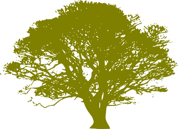 Green Print Oak Tree Clip Art At Clker Com Vector Clip