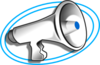 Megaphone With Blue Double Oval Clip Art