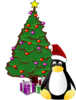 Christmas Tree And Penguin Clip Art
