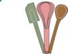 Baking Utensils Green Pink Brown Clip Art