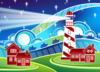 Seaside Town With Lighthouse Clip Art