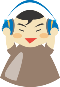 Asian Boy With Headphones Clip Art