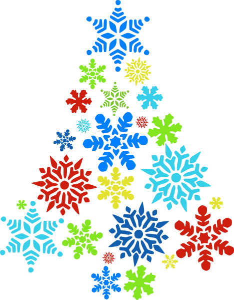 Colorful snowflake tree clip art at clker vector
