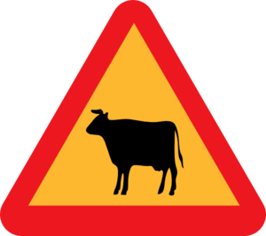 Cow Crossing Yield Clip Art