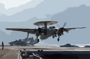 E-2c Hawkeye Launches From Uss Kitty Hawk. Clip Art
