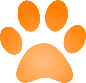 Orange Paw Print With Gradient Clip Art