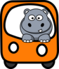Side Hippo On A Bus Clip Art
