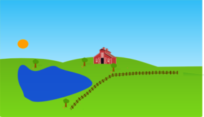 Farm With Lake Clip Art