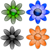 Glossy Flowers Clip Art