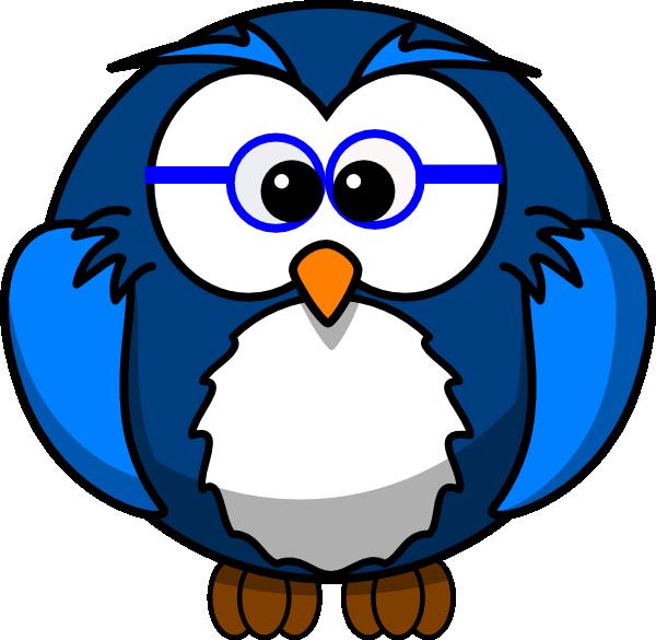 Blue Owl With Glasses Clip Art at Clker.com - vector clip ...