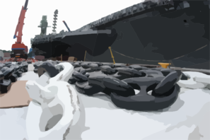Anchor Chains For Uss Kitty Hawk (cv 63) Sit On The Dock Waiting To Be Hoisted Back Aboard The Ship Clip Art