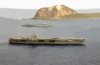 The Nuclear Powered Aircraft Carrier Uss Carl Vinson (cvn 70) And The Fast Combat Support Ship Uss Sacramento (aoe 1) Pass Mount Suribachi On The Island Of Iwo Jima. Clip Art