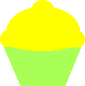 Yellow Icing Cupcake With Green Wrapper Clip Art
