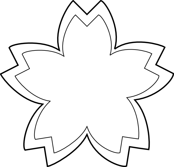 Clipart Simple Flower Outline 1 on Clipart Flower Six Petals Black Outline