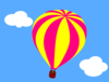 Hot Air Balloon In The Sky With Clouds Clip Art