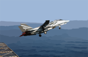 An F-14a Tomcat Assigned To The Black Knights Of Fighter Squadron One Five Four (vf-154) Makes A Catapult Launch Clip Art
