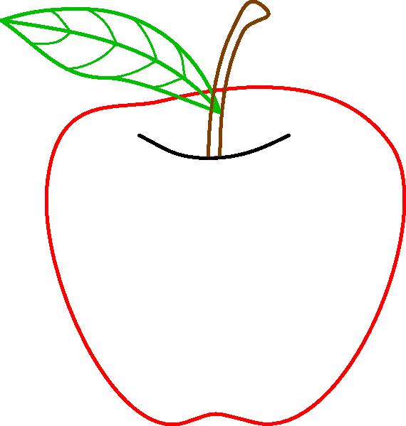 Colored Apple Outline Clip Art At Clker Com Vector Clip