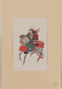 [samurai On Horseback, Wearing Armor And Horned Helmet, Carrying Bow And Arrows] Clip Art