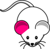 Single Pink Ear White Mouse Clip Art