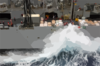 Sailors Aboard The Fast Combat Support Ship Uss Sacramento (aoe 1) Work To Maintain Control Of The Lines In High Winds And Heavy Seas During An Underway Replenishment (unrep) Clip Art