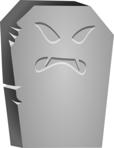 Tombstone With Angry Face Clip Art