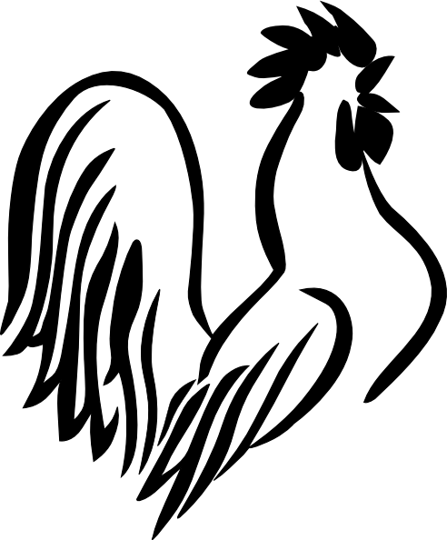 Rooster Torso Black & White Clip Art at Clker.com - vector ...
