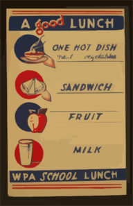 A Good Lunch - One Hot Dish, Meat, Vegetables - Sandwich - Fruit - Milk Wpa School Lunch. Clip Art