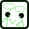 Chat People With Green Highlights Clip Art