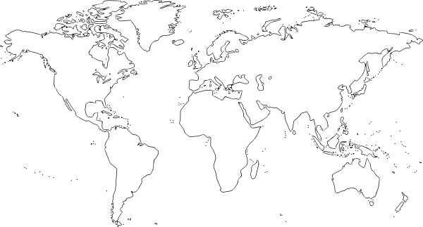 Line Art Map : Plain world map clip art at clker vector