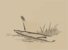 Bird And Boat Among Reeds. Clip Art