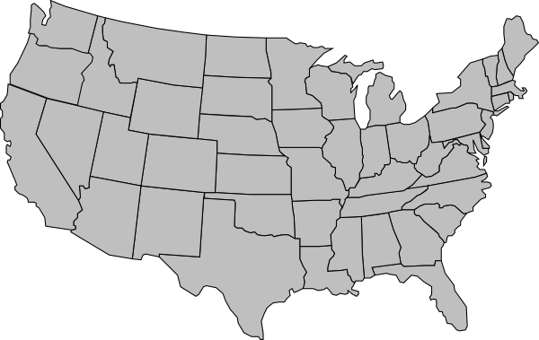 Line Art United States : United states of america map outline gray clip art at