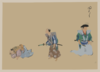 [kyōgen Play With Three Characters, Two With Swords, The Third Lying Down Or Feigning Sleep] Clip Art