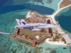 F-18c Over Fort Jefferson National Monument Clip Art