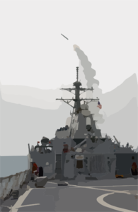The Guided Missile Destroyer Uss Milius (ddg 69) Launches A Tomahawk Land Attack Missile (tlam) Toward Iraq. Clip Art