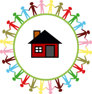Children Surrounding A House Clip Art