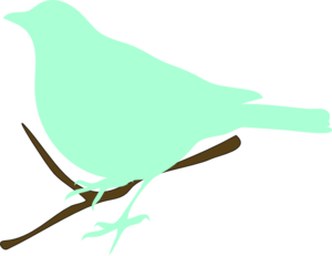 Green Bird On Twig Clip Art